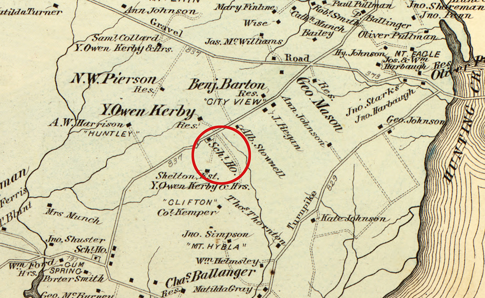 Detail of a map showing the location of the first schoolhouse. The schoolhouse location has been circled in red. The map shows the names of many people living in the vicinity and the location of their homes, some of which have been given names such as Mount Hybla, Clifton, Huntley, and City View. Old roads that will later become South Kings Highway, Route 1, and Fort Hunt Road are pictured.