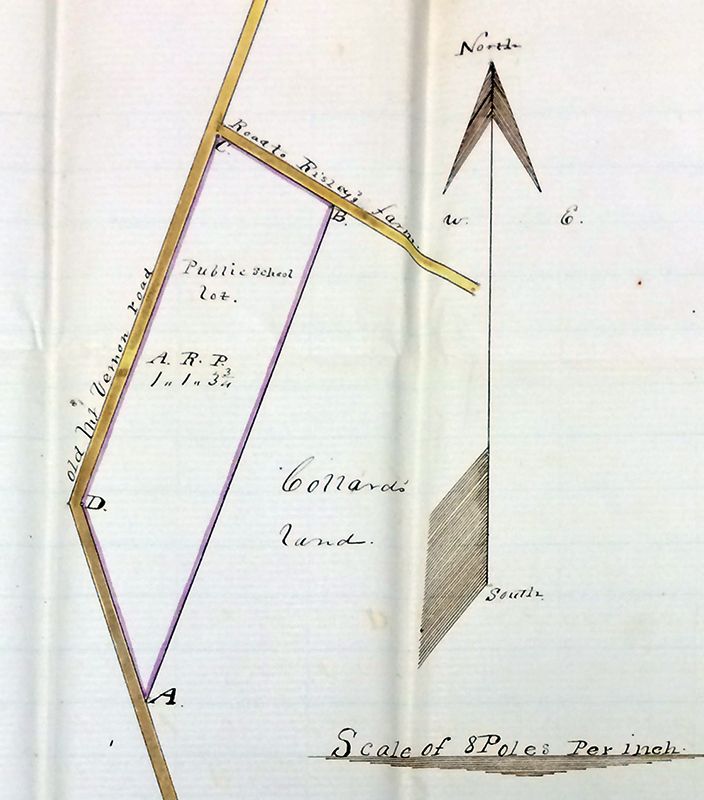 Photograph of a hand-drawn plat made by the surveyor of the schoolhouse lot. The survey shows the Old Mount Vernon Road and the road to Risley's farm. A large arrow points north. The school lot has been outlined in purple, at the corner of the intersection of the two roads, with corresponding points on the lot corners labeled A, B, C, and D. The total area of the lot is recorded as one acre, one rood, and three and three quarter poles.