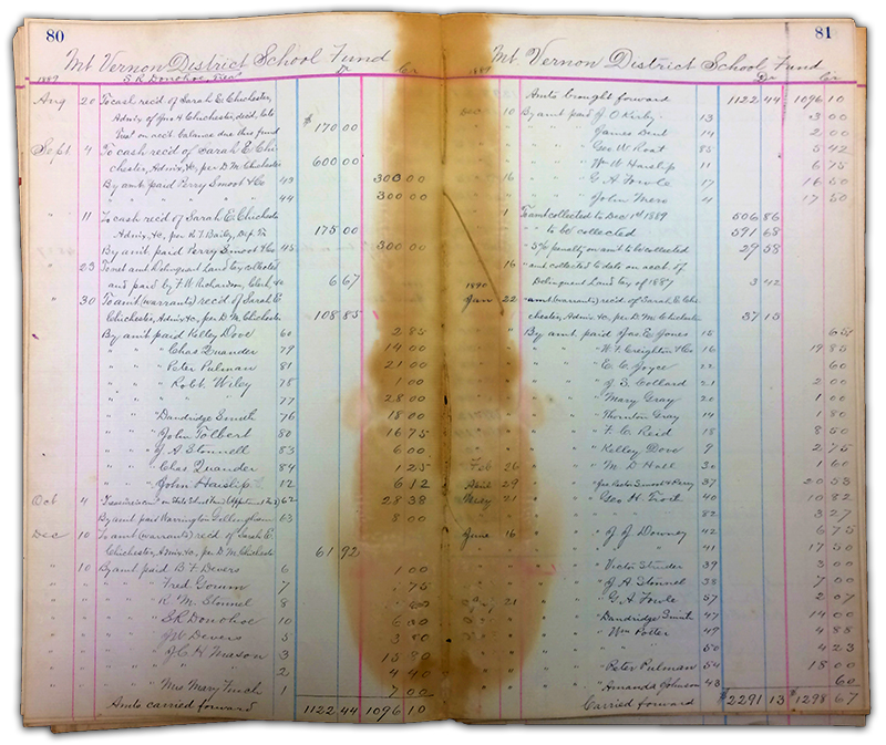 Photograph of an old financial ledger. The paper has faded to a light brown. The margins are printed in red ink and the handwritten notes are written in black ink. The center of the ledger has severe water damage and the paper here is stained dark brown. The ledger contains financial records of disbursements of funds from the Mount Vernon District School Trustees to various parties for goods and services.