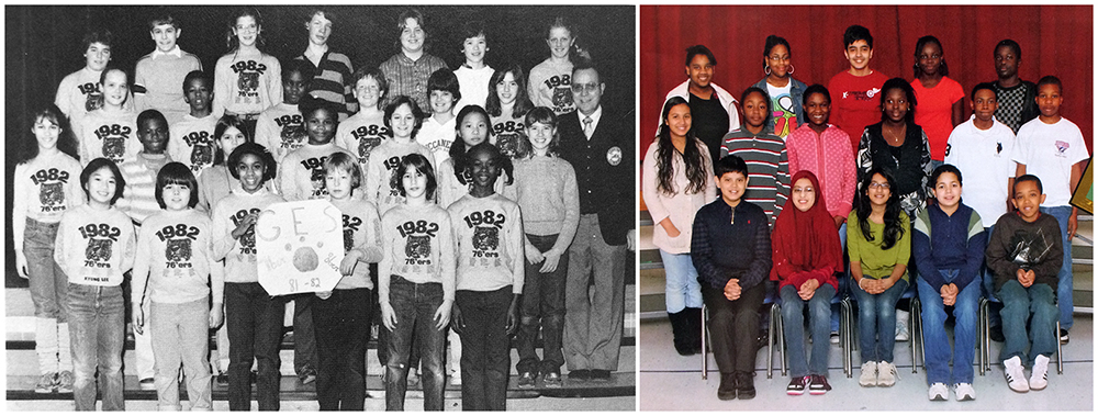 Two photographs, side-by-side, from Groveton Elementary School yearbooks of the group known as the seventy-sixers. The photograph on the left, in black and white, is from the 1981 to 1982 yearbook. The photograph on the right, in color, is from the 2009 to 2010 yearbook. 26 children and Principal Zepka are pictured in 1982. They are all wearing t-shirts that have an illustration of a tiger in the center. The number 1982 is above the tiger, and the names of the children who are seventy-sixers are printed below it. The children in the 2010 photograph are wearing their normal everyday clothing. 16 children are pictured.