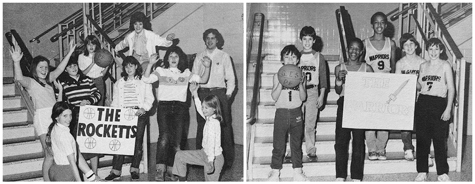Black and white photographs of two of Groveton Elementary School's after-school basketball teams from the 1983 to 1984 yearbook. On the left is a photograph of the Rocketts, an all-girls team, comprised of eight girls. On the right is a photograph of the Warriors, an all-boys team, comprised of six boys. The students are posed in a stairwell. In each picture one student is holding a basketball and another is holding up a sign with the team's name on it.