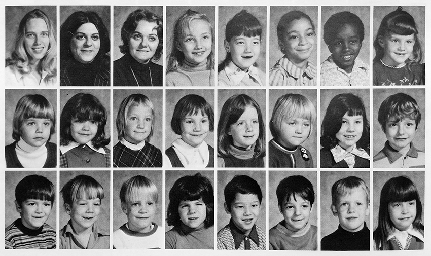 Black and white photograph from Groveton Elementary School's 1972 to 1973 yearbook showing some of the students and teachers in the Washington Pod. The pictures are all head-and-shoulders portraits and none of the individuals are named. 21 children and three adults are pictured.