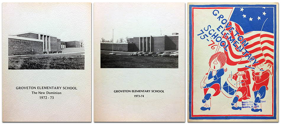 Photograph showing the covers of three Groveton Elementary School yearbooks. On the left is the cover of the 1972 to 1973 yearbook. In the center is the cover of the 1973 to 1974 yearbook. On the right is the cover of the 1975 to 1976 yearbook. 1973 and 1974 are both plain white covers with a black and white photograph of the school's main entrance in the center. The 1976 cover is red, white, and blue, with an illustration of three Revolutionary War-era patriots marching in formation. One is carrying an American flag, another is playing a drum, and the third is playing a fife.