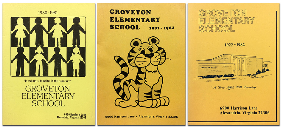 Photograph showing the covers of three Groveton Elementary School yearbooks. On the left is the cover of the 1980 to 1981 yearbook. In the center is the cover of the 1981 to 1982 yearbook. On the right is the cover of the 1982 to 1983 yearbook. The 1981 yearbook cover is yellow and has an illustration of children at the top center. The illustration is a simple black and white design where alternating silhouettes of boys and girls hold hands. A caption reads: Everybody's beautiful in their own way. The 1982 yearbook cover is orange in color and features an illustration of Groveton's tiger cub mascot. The 1983 yearbook cover is orange in color and has a black and white illustration of the school building's main entrance.